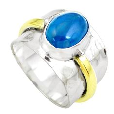 3.68cts victorian natural blue apatite 925 silver two tone ring size 8 p50517