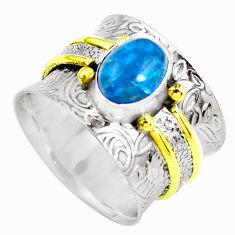 2.75cts victorian natural blue apatite 925 silver two tone ring size 7.5 p50518