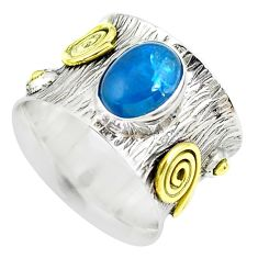 3.31cts victorian natural blue apatite 925 silver two tone ring size 6.5 p50580