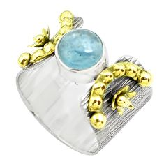 3.24cts victorian natural blue aquamarine silver two tone ring size 8.5 p50507