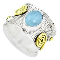 3.41cts victorian natural blue aquamarine silver two tone ring size 6.5 p50511