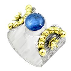 Victorian natural blue kyanite silver two tone solitaire ring size 9.5 p50462