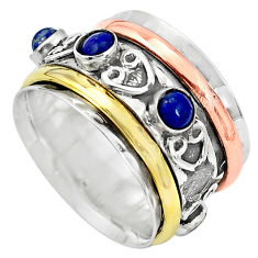 Victorian natural blue lapis lazuli silver two tone band ring size 8.5 p32174