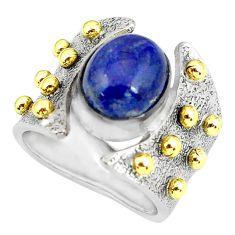 Victorian natural blue lapis lazuli silver two tone solitaire ring size 7 p60889