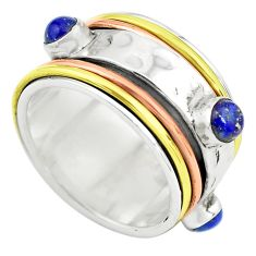 Victorian natural blue lapis lazuli silver two tone spinner ring size 9 p77095