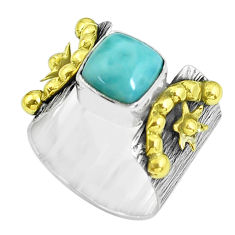 Victorian natural blue larimar silver two tone solitaire ring size 6.5 p61953