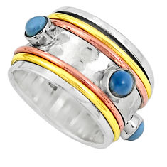 Victorian natural blue owyhee opal 925 silver two tone band ring size 7.5 p32168