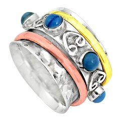 Victorian natural blue owyhee opal 925 silver two tone band ring size 7.5 p32172