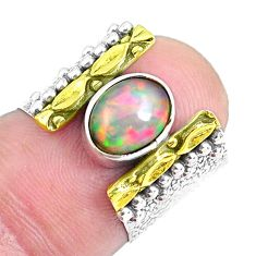 Victorian natural ethiopian opal silver two tone solitaire ring size 5.5 p50426