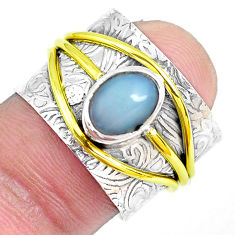 Victorian natural ethiopian opal silver two tone solitaire ring size 7.5 p50433