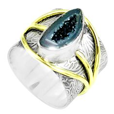 Victorian natural geode druzy 925 silver two tone solitaire ring size 6.5 p61922