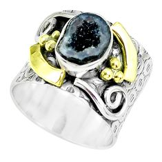 Victorian natural geode druzy 925 silver two tone solitaire ring size 6.5 p61923