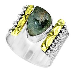 Victorian natural geode druzy 925 silver two tone solitaire ring size 6.5 p61926