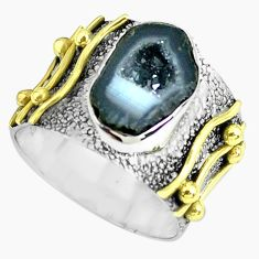 Victorian natural geode druzy 925 silver two tone solitaire ring size 6.5 p61927