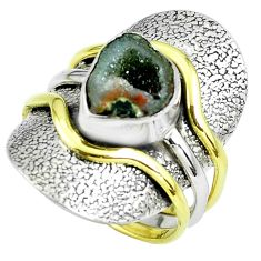 Victorian natural geode druzy 925 silver two tone solitaire ring size 8 p61932