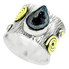 Victorian natural geode druzy silver two tone solitaire ring size 5.5 p61921