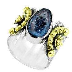 Victorian natural geode druzy silver two tone solitaire ring size 6.5 p61924