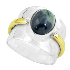 Victorian natural green kambaba jasper 925 silver two tone ring size 6.5 p61303