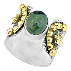 Victorian natural green kambaba jasper 925 silver two tone ring size 8.5 p61311
