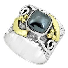 3.56cts victorian natural hematite 925 silver two tone ring size 7.5 p61290
