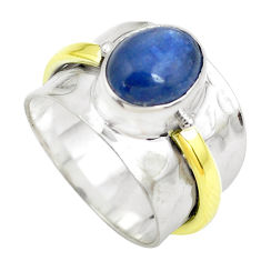 Victorian natural kyanite 925 silver two tone solitaire ring size 6.5 p50472