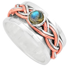 Victorian natural labradorite silver two tone spinner band ring size 8 p32211