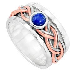 Victorian natural lapis lazuli silver two tone spinner band ring size 8 p32210