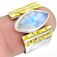 Victorian natural moonstone 925 silver two tone solitaire ring size 6.5 p77114