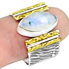 Victorian natural moonstone 925 silver two tone solitaire ring size 9.5 p77117