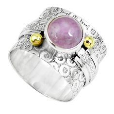 Victorian natural pink kunzite silver two tone solitaire ring size 6.5 p61977