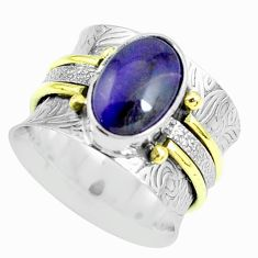 Victorian natural purple sugilite silver two tone solitaire ring size 8 p61936