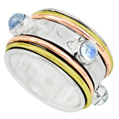 Victorian natural rainbow moonstone silver two tone spinner ring size 6 p77096