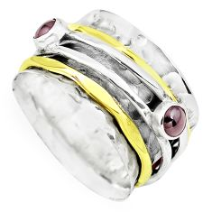 Victorian natural red garnet 925 silver two tone spinner ring size 7.5 p77011