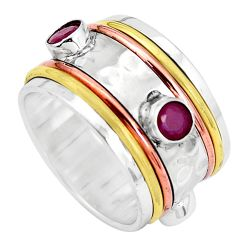 Victorian natural red ruby 925 silver two tone band ring size 6.5 p32175