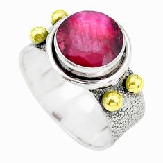 Victorian natural red ruby round silver two tone solitaire ring size 7 p32326