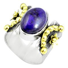 Victorian natural sugilite 925 silver two tone solitaire ring size 7.5 p61933