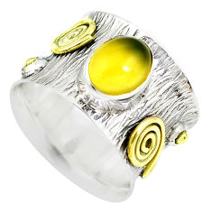 4.99cts victorian natural yellow opal 925 silver two tone ring size 6.5 p50563