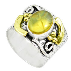 4.38cts victorian natural yellow opal 925 silver two tone ring size 6.5 p50567