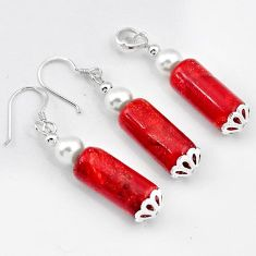 925 SILVER AWESOME RED SPONGE CORAL PEARL FANCY PENDANT EARRINGS SET H41871