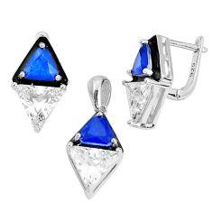 925 silver 13.89cts blue sapphire (lab) topaz enamel pendant earrings set c2584