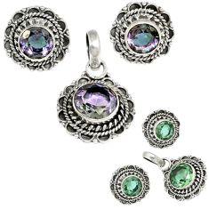 925 silver color changeable alexandrite (lab) pendant earrings set h92304