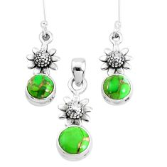 925 silver 5.62cts green copper turquoise flower pendant earrings set p38649