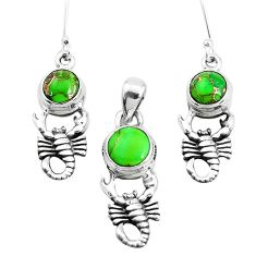 925 silver 5.81cts green copper turquoise scorpion pendant earrings set p38590