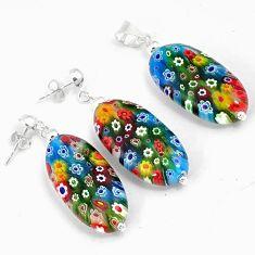 925 silver multi color italian murano glass pendant earrings jewelry set h46096