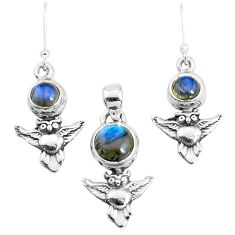 925 silver 6.53cts natural blue labradorite owl pendant earrings set p38608