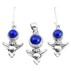 925 silver 6.32cts natural blue lapis lazuli owl pendant earrings set p38574