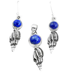 925 silver 6.61cts natural blue lapis lazuli round pendant earrings set p38504