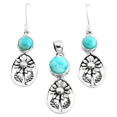 925 silver 7.41cts natural blue larimar flower pendant earrings set p38655