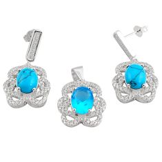 925 silver 11.11cts natural blue topaz turquoise earring pendant set c4520