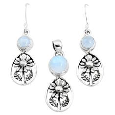 925 silver 6.86cts natural rainbow moonstone flower pendant earrings set p38520